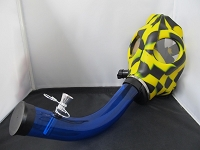Multi Color Checkered Gas Mask w/ Bent Acrylic Pipe Set (Yellow)