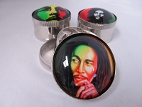 3D Decal 3 Part Metal Grinder w/ Bob Marley Design 1ct