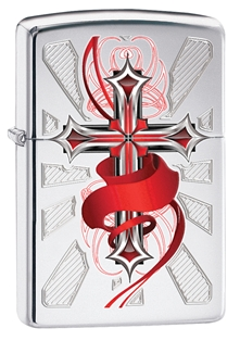Zippo: Cross with Accents of Red # 28526