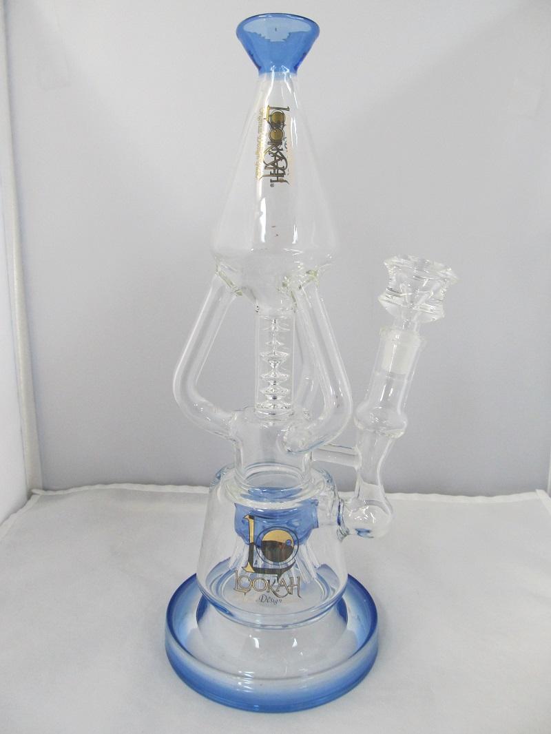 """Triple Aaa Number >> 12"""" Lookah Glass Platinum Triple Recycler Rig (Ocean Blue)"""
