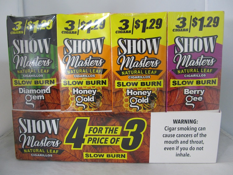Show Masters Natural Leaf Cigarillos 3 For $1.29 ~ 15ct Pouch 4 Box Display