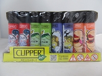 Clipper Refillable Lighter Monsters 48ct Display