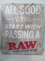 Raw Rustic Wood Sign 16inch X 13inch (All Good Stories...)