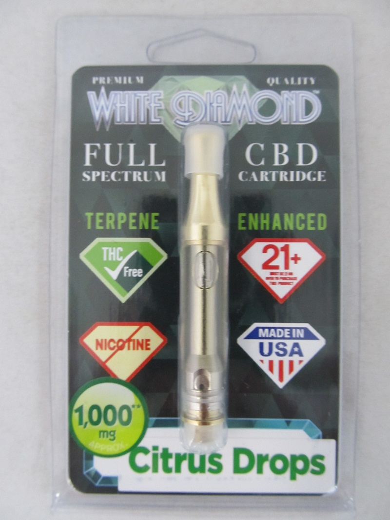 White Diamond Full Spectrum CBD Vape Cartridge 1000mg 1ml (Citrus Drops)