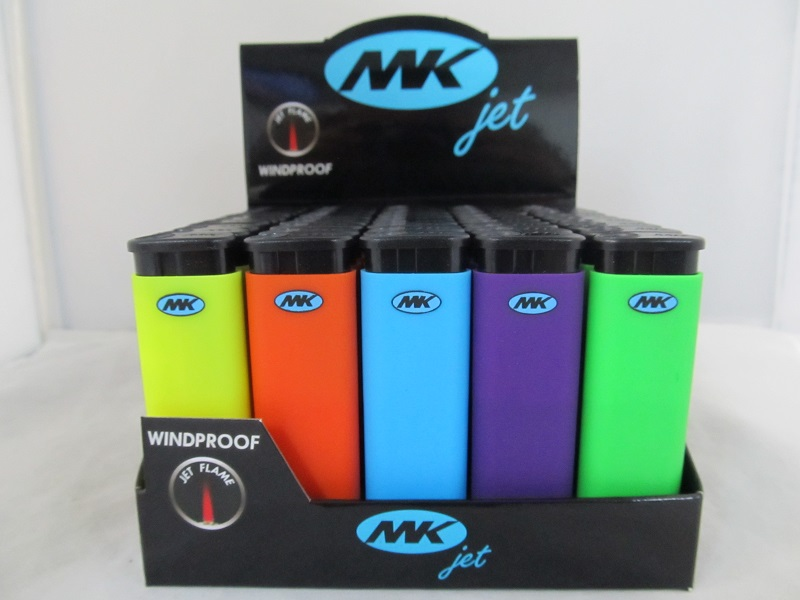 MK Jet Windproof Refillable Lighter Neon Finish 50ct Display