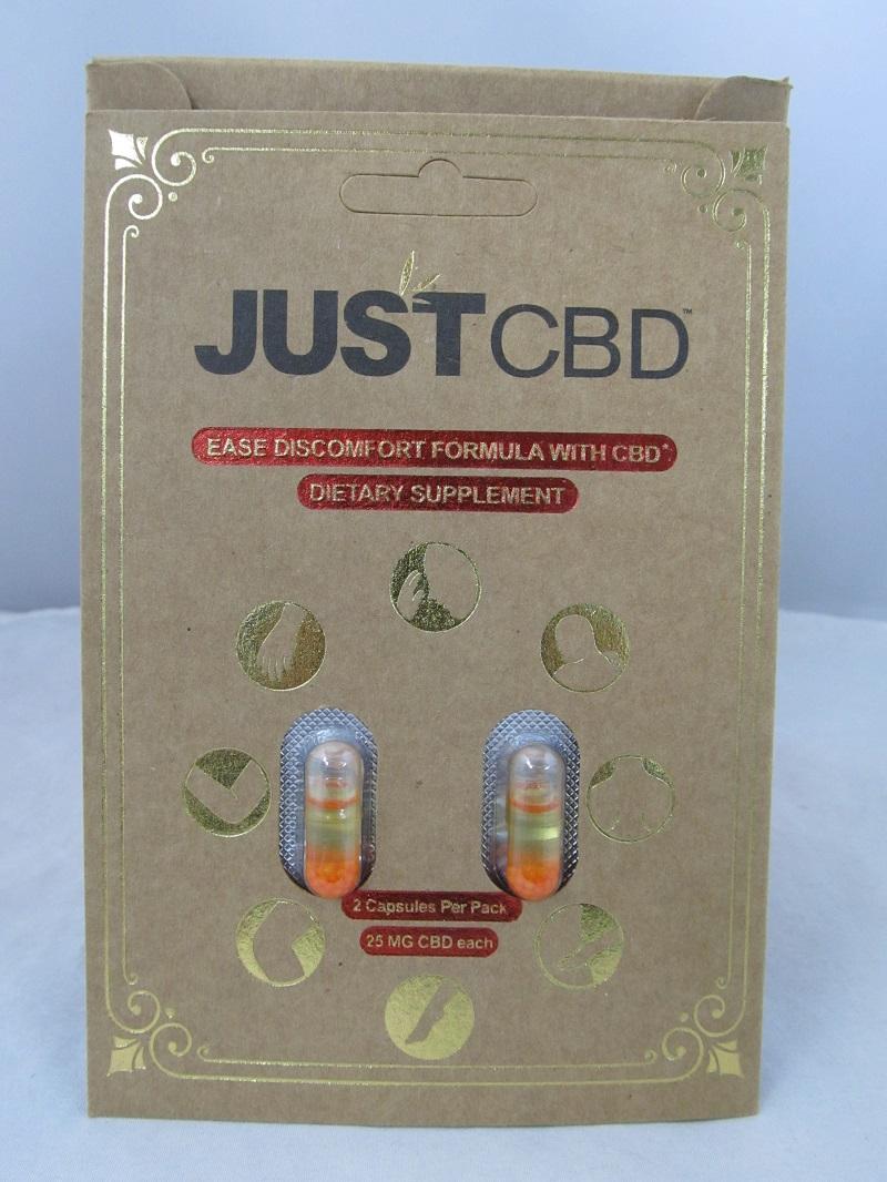 Just CBD Ease Discomfort Formula Capsules 25mg 12ct Display