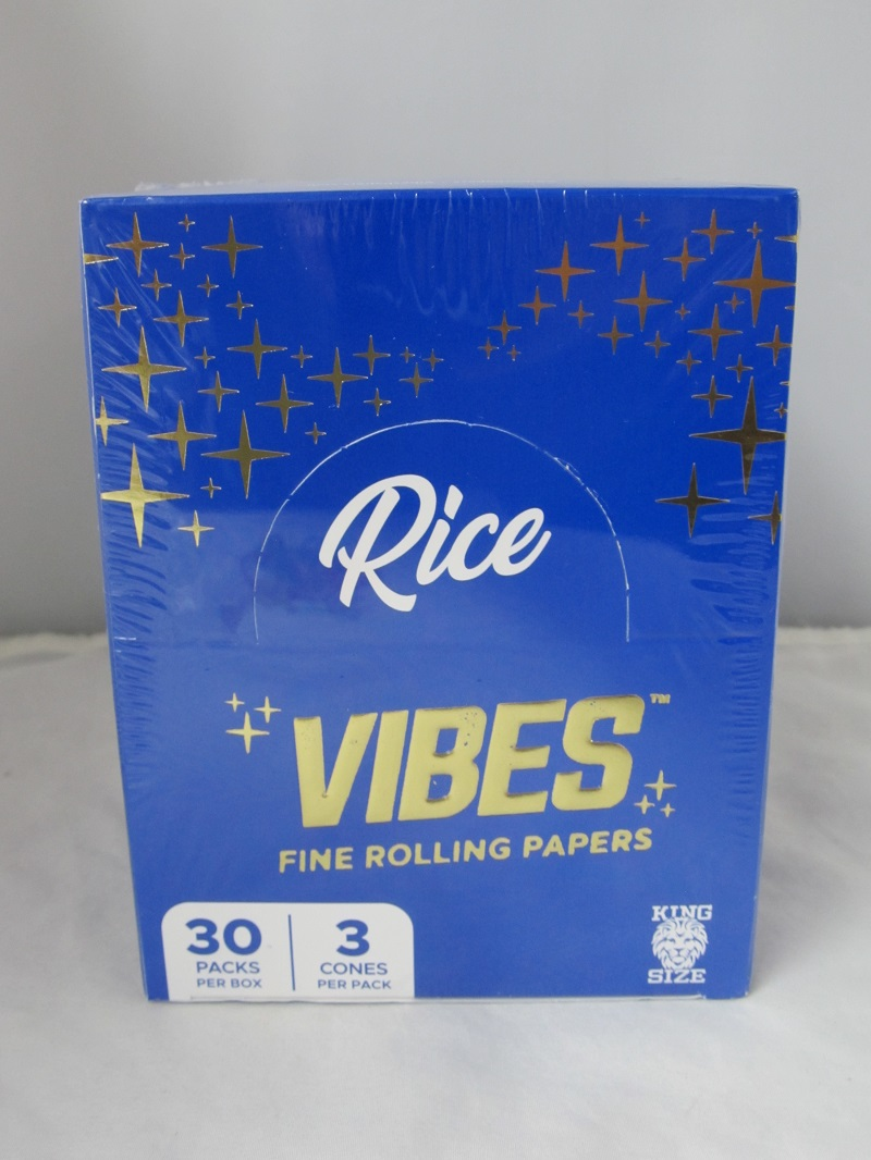 Vibes Fine Rolling Paper 1-1/4  Rice Cones 6 Cone 30 Pack Display