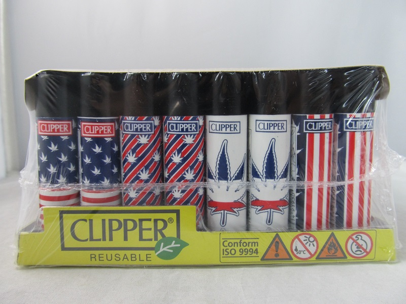 Clipper Refillable Lighter National Leaf 2 48ct Display