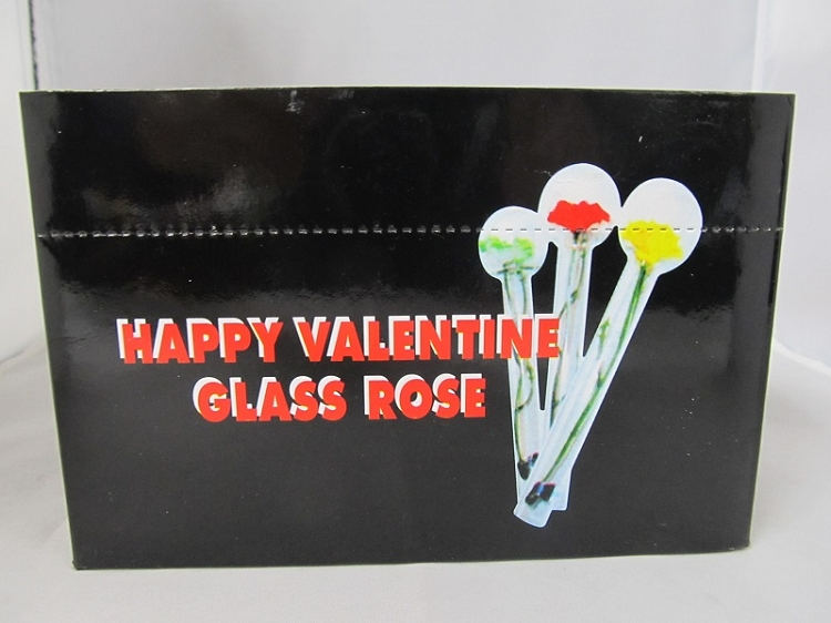 happy valentine glass rose 24ct display - Happy Valentine Glass Rose Pipe