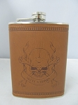 8oz Leather Wrapped Stainless Steel Flask w/ Diff Engraving 8ct Display
