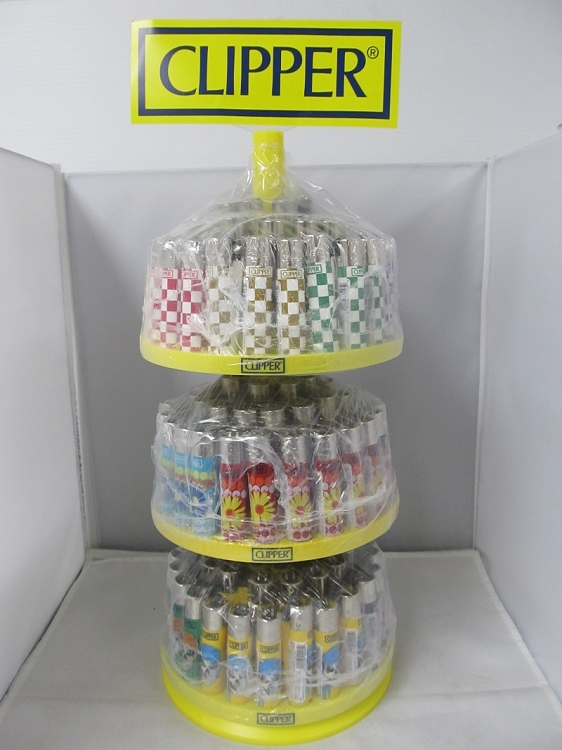 Clipper 3 Tier Lighter Display 144 Count