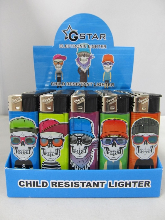 Electronic Refillable Lighter w/ Cool Skull Design 50ct