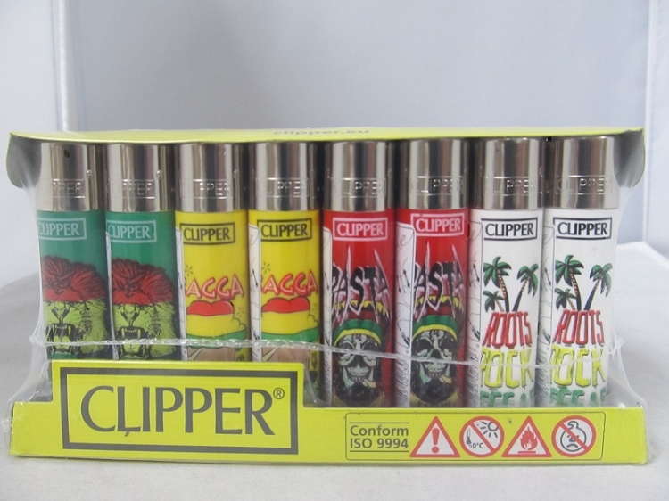 Clipper Refillable Lighter Rasta 48ct Display