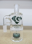 Diamond Glass 14mm 90 degree Green Honey Comb Ash Catcher
