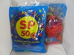 Punch Ball Balloons w/ Rubber Bands 50ct Bag