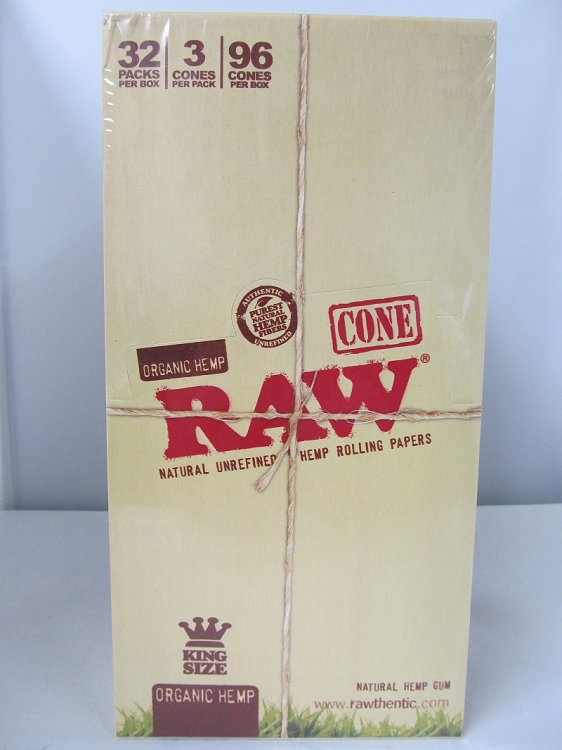 Raw Organic Cones King Size 32 pack box
