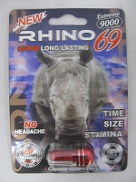 RHINO 69 Extreme 9000 in Acrylic Pill Container