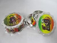 Chain Link 3 Part Grinder Rasta Man Design 1ct