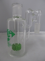 Diamond Glass 14mm 90 degree Recycler Wheel Perc Stem Ash Catcher (Slime Green)
