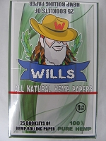 Wills Pure Hemp 1-1/4 Rolling Paper 25 booklets
