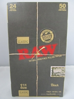 Raw Black 1-1/4 Rolling Papers 24 booklets 50Leaves