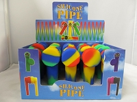 Silicone Pipe w/ Solid Colors 20ct Display Style#1
