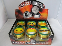 Rasta Color 3 Part Metal Grinder w/ Smiley Face Design 12ct Display