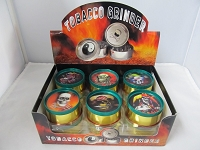 Rasta Color 3 Part Metal Grinder w/ 3D Skulls Design 12ct Display