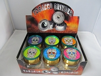 Rasta Color 3 Part Metal Grinder w/ Mexican Skulls Design 12ct Display