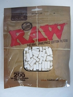 RAW SLIM Natural Unrefined Cotton Cigarette Filter Tips 200ct Bag