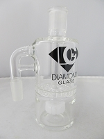 Diamond Glass 14mm 90 degree White Honey Comb Ash Catcher