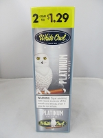 White Owl 2 For $1.29 Platinum Un-Sweet Cigarillos 15ct Display