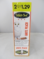 White Owl 2 For $1.29 White Peach Cigarillos 15ct Display