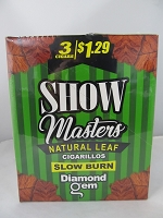 Show Masters Natural Leaf Cigarillos 3 For $1.29 ~ 15ct Pouch (Diamond Gem)