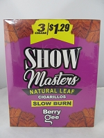 Show Masters Natural Leaf Cigarillos 3 For $1.29 ~ 15ct Pouch (Berry Gee)