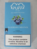 PUFF Salt Nic 5% 4ct JUUL Compatible Pods (Blueberry Menthol)
