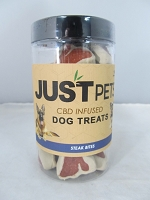 Just Pets CBD Infused Dog Treats 100mg Per Jar (Steak Bites)