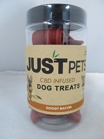 Just Pets CBD Infused Dog Treats 100mg Per Jar (Doggy Bacon)