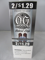 OG Woods Natural Premium Leaf 2 For $1.29 Natural Drip 15ct Display