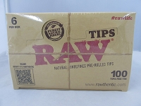 Raw Natural Per-Rolled 100 Tips In Tin 6 Tin Display