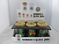 Glass Jar Safe w/Bamboo Cap & Assorted Leaf Design 55mm X 88mm 12ct Display