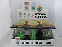 Glass Jar Safe w/Bamboo Cap & Assorted Leaf Design 65mm X 108mm 12ct Display