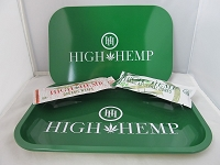 High Hemp Rolling Tray 7.5inch X 11inch w/ Wrap & Cone (Green) w/ Magnetic Lid