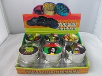 3 Part Metal Grinder w/ Bob Marley Design 12ct Display