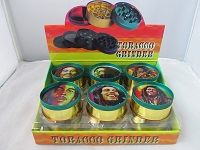 Rasta Color 3 Part Metal Grinder w/ Bob Marley Design 12ct Display
