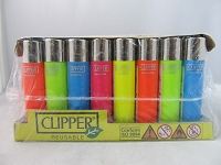 Clipper Refillable Lighter Fluorescent Solid Colors 48ct Display