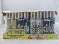 Clipper Refillable Lighter Leaves 10 48ct Display