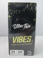 Vibes Rolling Paper 1-1/4 Ultra Thin 50 Papers + Tips 24 Booklet Display
