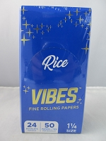 Vibes Rolling Paper 1-1/4 Rice 50 Papers + Tips 24 Booklet Display