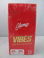 Vibes Rolling Paper 1-1/4 Hemp 50 Papers + Tips 24 Booklet Display